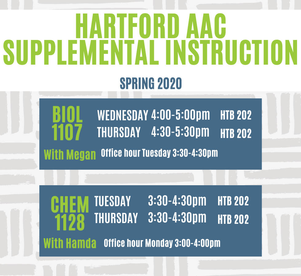 Hartford SI Schedule for Fall 2019