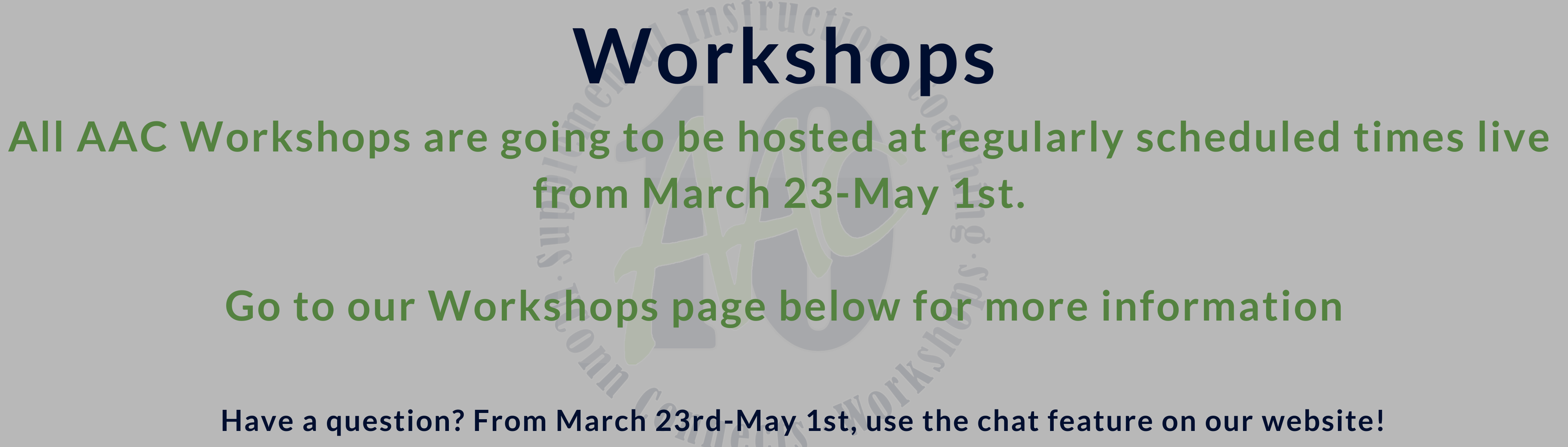 workshops are virtual!