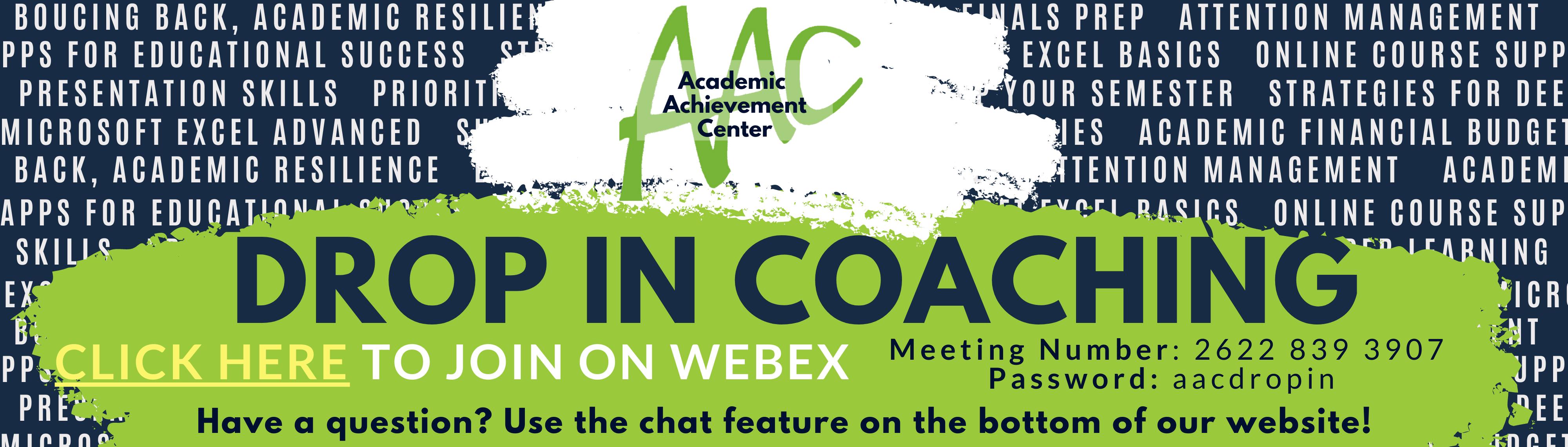 Drop In Academic Coaching -